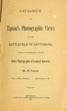 Cover of Catalogue of Tipton's photographic views of the battlefield of Gettysburg