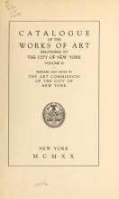 Cover of Catalogue of the works of art belonging to the city of New York