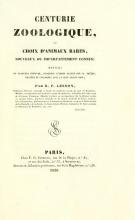 Cover of Centurie zoologique, ou, Choix d'animaux rares, nouveaux ou imparfaitement connus