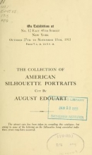 Cover of The collection of American silhoutte portraits cut by August Edouart