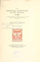Cover of The colonial furniture of New England