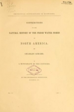 Cover of Contributions to the natural history of the fresh water fishes of North America