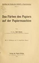 Cover of Das Färben des Papiers auf der Papiermaschine