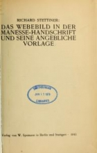 Cover of Das Webebild in der Manesse-Handschrift und seine angebliche Vorlage