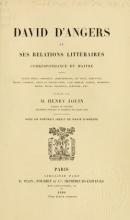 Cover of David d'Angers et ses relations littéraires