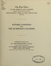 Cover of De luxe catalogue of notable paintings by Masters of the Early English, Dutch, Flemish and French schools