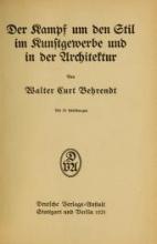 Cover of Der Kampf um den Stil im Kunstgewerbe und in der Architektur
