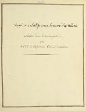 Cover of Dessins relatifs aux trvaux [i.e. travaux] d'artillerie