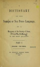 Cover of A dictionary of the Numil°u or Nez Perce language