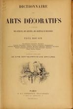 Cover of Dictionnaire des arts décoratifs à l'usage des artisans, des artistes, des amateurs et des écoles