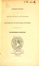 Cover of Directions for collecting, preserving and transporting specimens of natural history