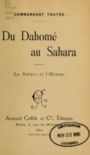 Cover of Du Dahomé au Sahara