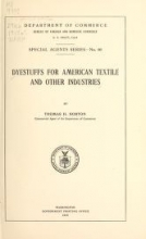 Cover of Dyestuffs for American textile and other industries