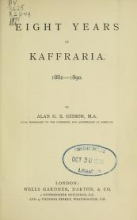 Cover of Eight years in Kaffraria, 1882-1890