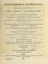Cover of Encyclopaedia londinensis, or, Universal dictionary of arts, sciences, and literature v.20 (1825)