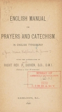 Cover of English manual, or, Prayers and catechism in English typography