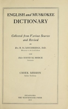 Cover of English and Muskokee dictionary