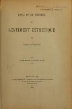 Cover of Essai d'une théorie du sentiment esthétique
