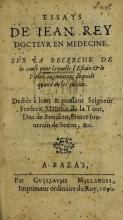 Cover of Essays de Iean Rey, docteur en medecine