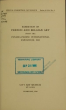 Cover of Exhibition of French and Belgian art from the Panama-Pacific international exposition, 1915