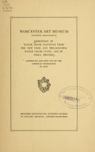 Cover of Exhibition of water color paintings from the New York and Philadelphia water color clubs, and of small bronzes