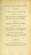Cover of Experiments upon vegetables