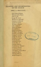 Cover of Founders and incorporators of the museum, April 13, MDCCCLXX