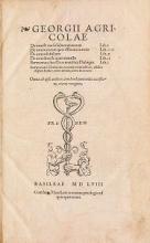 Cover of Georgii Agricolae De ortu and causis subterraneorum, lib. V , De natura eorum quA effluunt ex terra, lib. IIII , De natura fossilium, lib.