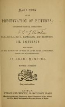 Cover of Hand-book for the preservation of pictures
