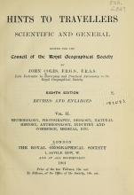 Cover of Hints to travellers