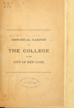 Cover of Historical cabinet of the College of the City of New York