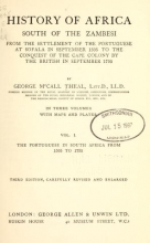 Cover of History of Africa south of the Zambesi