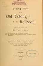 Cover of History of the Old Colony Railroad