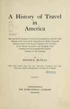 Cover of A history of travel in America v.1 (1915)