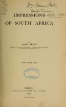Cover of Impressions of South Africa