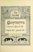 Cover of The Inland architect and news record v. 13-14 Feb 1889-Jan 1890