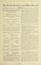 Cover of The Inland architect and news record v. 18 Aug 1891-Jan 1892