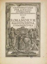 Cover of Ioannis-Baptistae Piranesii antiquariorum regiae societatis Londinensis socii De Romanorum magnificentia et architectura