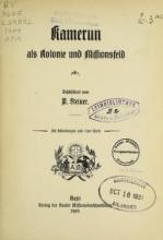 Cover of Kamerun als Kolonie und Missionsfeld