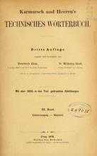 Cover of Karmarsch und Heeren's Technisches Wörterbuch