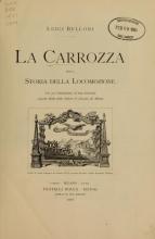 Cover of La carrozza nella storia della locomozione
