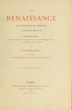 Cover of La renaissance en Italie et en France à l'époque de Charles VIII