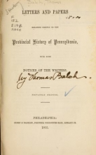 Cover of Letters and papers relating chiefly to the Provincial history of Pennsylvania