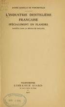 Cover of L'industrie dentelière française spécialement en Flandre