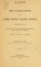 Cover of A list of the publications of the United States National museum (1875-1900)
