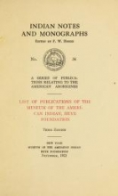 Cover of List of publications of the Museum of the American Indian, Heye Foundation