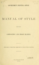 Cover of Manual of style for use in composition and proof reading