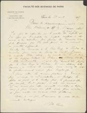 Cover of Marie Curie letter dated Faculté des sciences de Paris, Institut du radium, Laboratoire Curie, 1, Rue Pierre-Curie, Paris, 24 August 1917