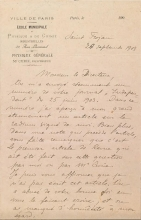 Cover of Marie Curie letter to the director of Independant, dated École municipale de physique & de chimie industrielles, 12 Rue Lhomond, Paris, 20 September