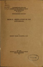 Cover of Medical observations on the Zuñi Indians